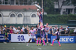 A-Trade Overseas Old Boys (in pink and white) versus Projecx Waterboys (in dark blue) during GFI HKFC Rugby Tens 2016 on 07 April 2016 at Hong Kong Football Club in Hong Kong, China. Photo by Marcio Machado / Power Sport Images