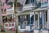 Quaint Victorian cottages in the Martha's Vineyard Campground, Oak Bluffs, Martha's Vineyard, Massachusetts, USA
