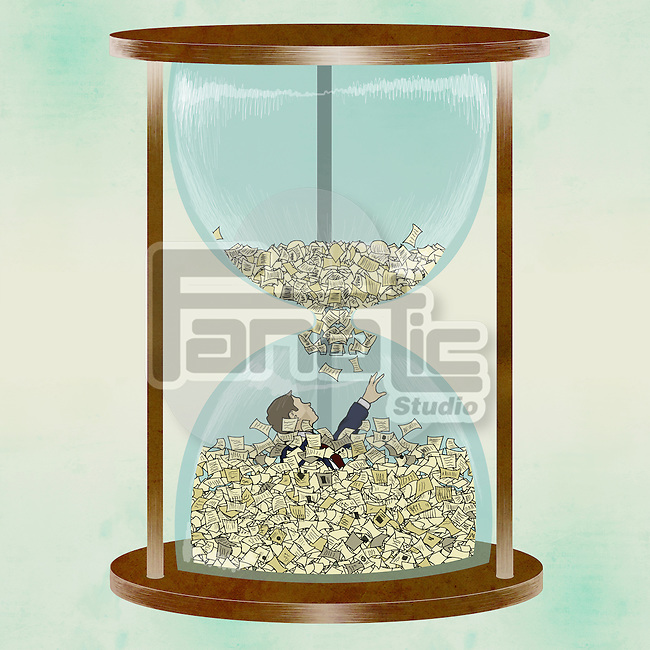 Businessman drowning into paperwork overflow in hourglass