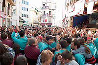 Human tower competition, castellers,  Drawing big crowds. Sitges, Catalonia, Spain