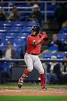 Portland Sea Dogs second baseman Deiner Lopez (24) at bat during a game against the Binghamton Rumble Ponies on August 31, 2018 at NYSEG Stadium in Binghamton, New York.  Portland defeated Binghamton 4-1.  (Mike Janes/Four Seam Images)