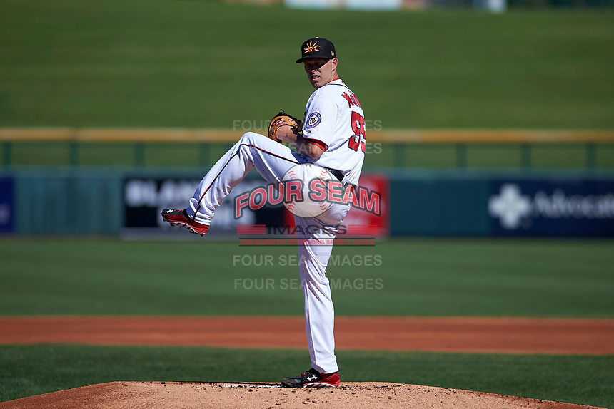 Mesa Solar Sox starting pitcher Kyle McGowin (55), of the Washington Nationals organization, delivers a pitch to the plate during an Arizona Fall League game against the Scottsdale Scorpions on October 24, 2017 at Sloan Park in Mesa, Arizona. The Scorpions defeated the Solar Sox 3-1. (Zachary Lucy/Four Seam Images)
