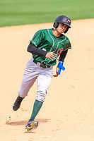 Great Lakes Loons infielder Moises Perez (7) rounds third base during a Midwest League game against the Wisconsin Timber Rattlers on May 12, 2018 at Fox Cities Stadium in Appleton, Wisconsin. Wisconsin defeated Great Lakes 3-1. (Brad Krause/Four Seam Images)