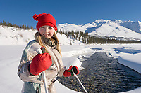 Julia hicker, cross country skiing in the Brooks Range, Arctic Alaska