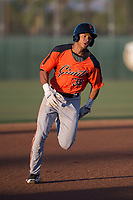 AZL Giants Orange right fielder George Bell (38) hustles around third base during an Arizona League game against the AZL Athletics at Lew Wolff Training Complex on June 25, 2018 in Mesa, Arizona. AZL Giants Orange defeated the AZL Athletics 7-5. (Zachary Lucy/Four Seam Images)