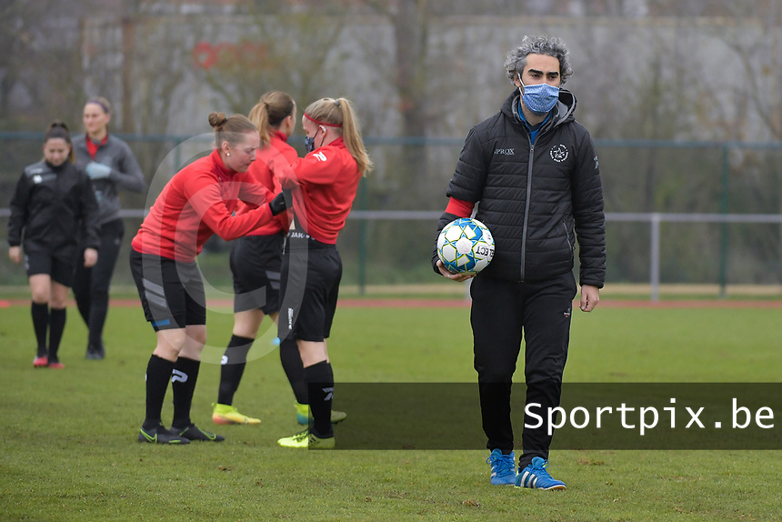 Woluwe's assistant coach Karim Attanjaoui  pictured during a female soccer game between SV Zulte - Waregem and White Star Woluwe on the 9th matchday of the 2020 - 2021 season of Belgian Scooore Women s SuperLeague , saturday 12 th of December 2020  in Waregem , Belgium . PHOTO SPORTPIX.BE | SPP | DIRK VUYLSTEKE