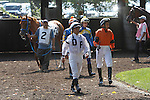 July 12, 2014: Jockeys, including (from left) Javier Castellano, Alex Cintron and William Otero, come into the paddock before the Fort Delaware Stakes. Avarice (#2, left) wins the Fort Delaware Stakes after first-place finisher Picko's Pride is disqualified to last for interference at Delaware Park in Stanton Delaware. Avarice's trainer is John Robb; owners are John Robb and Herman Braude. ©Joan Fairman Kanes/ESW/CSM