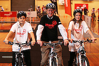 From left: Guy Cooper, Richard Edmundson, Principal of Hornby High School and Skyla Edmonds at the Move 60 event run by Cocacola at Pioneer Stadium Gymnasium, Christchurch, New Zealand on Saturday, 12 April 2014. Photo: Joe Johnson.