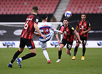17th October 2020; Vitality Stadium, Bournemouth, Dorset, England; English Football League Championship Football, Bournemouth Athletic versus Queens Park Rangers; Ilias Chair of Queens Park Rangers plays the ball through under pressure  from Adam Smith of Bournemouth