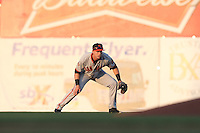 Austin Slater (10) of the San Jose Giants in the field during a game against the Inland Empire 66ers at San Manuel Stadium on May 30, 2015 in San Bernardino, California. Inland Empire defeated San Jose, 6-4. (Larry Goren/Four Seam Images)