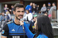 SAN JOSE, CA - FEBRUARY 29: Oswaldo Alanis #4 of the San Jose Earthquakes is interviewed after the match during a game between Toronto FC and San Jose Earthquakes at Earthquakes Stadium on February 29, 2020 in San Jose, California.