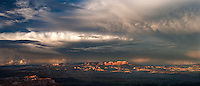 9040000019 a summer thunderstorm breaks over the paunsaugunt plateau and bryce canyon national park utah in this panoramic view from bryce point lookout