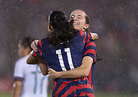 EAST HARTFORD, CT - JULY 1: Christen Press #11 of the USWNT celebrates a goal with Tierna Davidson #12 during a game between Mexico and USWNT at Rentschler Field on July 1, 2021 in East Hartford, Connecticut.