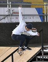 BOGOTA - COLOMBIA - 13 - 08 - 2017: Juan Pe–a, Skater de Venezuela, durante competencia en el Primer Campeonato Panamericano de Skateboarding, que se realiza en el Palacio de los Deportes en la Ciudad de Bogota. / Juan Pe–a, Skater from Venezuela, during a competitions in the First Pan American Championship of Skateboarding, that takes place in the Palace of Sports in the City of Bogota. Photo: VizzorImage / Luis Ramirez / Staff.