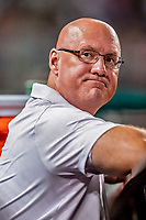 21 September 2018: Washington Nationals Director of Athletic Training Paul Lessard watches from the dugout during a game against the New York Mets at Nationals Park in Washington, DC. The Mets defeated the Nationals 4-2 in the second game of their 4-game series. Mandatory Credit: Ed Wolfstein Photo *** RAW (NEF) Image File Available ***