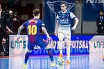 Barcelona Lassa Mario Rivillos and R. Renov. Zaragoza Adrian Ortego during Futsal Spanish Cup 2018 at Wizink Center in Madrid , Spain. March 16, 2018. (ALTERPHOTOS/Borja B.Hojas)