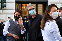 Actor Tom Cruise and film director Christopher McQuarrie wearing a face mask on the set of the film Mission Impossible 7 shot in Via Nazionale.<br /> Rome (Italy), October 9th 2020<br /> Photo Samantha Zucchi Insidefoto