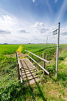 Public footpath sprayed off across a wheat field - Lincolnshire, May
