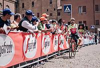 Giuseppe Fonzi (ITA/Wilier Triestina-Selle Italia) showing off his (giant) Pannini race sticker at the race start<br /> <br /> stage 13 Ferrara - Nervesa della Battaglia (180km)<br /> 101th Giro d'Italia 2018