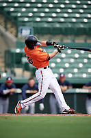 Baltimore Orioles Mason McCoy (58) at bat during an Instructional League game against the Atlanta Braves on September 25, 2017 at Ed Smith Stadium in Sarasota, Florida.  (Mike Janes/Four Seam Images)