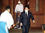 August 15, 2020, Tokyo, Japan - Japanese Environment Minister Shinjiro Koizumi leaves the Yasukuni shrine after he honored war victims in Tokyo on Saturday, August 15, 2020. Japan marked the 75th anniversary of its surrender of World War II.        (Photo by Yoshio Tsunoda/AFLO)
