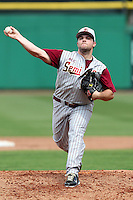 Florida State Seminoles pitcher Scott Sitz #26 delivers a pitch during a scrimmage against the Philadelphia Phillies at Brighthouse Field on February 29, 2012 in Clearwater, Florida.  Philadelphia defeated Florida State 6-1.  (Mike Janes/Four Seam Images)