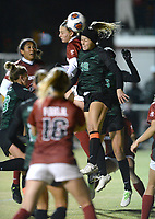 NWA Democrat-Gazette/ANDY SHUPE<br /> Arkansas Tori Cannata (top left) heads the ball into the net from a corner kick Friday, Nov. 15, 2019, as North Texas' Natalie Newell defends during the second half of play in the first round of the NCAA women's soccer tournament at Razorback Field in Fayetteville. Visit nwadg.com/photos to see more photographs from the match.