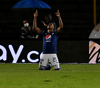 BOGOTA - COLOMBIA, 15-11-2020: Emerson Rodriguez de Millonarios F. C. celebra despues de anotar su gol a Alianza Petrolera, durante partido entre Millonarios F. C. y Alianza Petrolera de la fecha 20 por la Liga BetPlay DIMAYOR 2020 jugado en el estadio Nemesio Camacho El Campin de la ciudad de Bogota. / Emerson Rodriguez of Millonarios F. C. celebrates after scoring his goal to Alianza Petrolera, during a match between Millonarios F. C. and Alianza Petrolera of the 20th date for the BetPlay DIMAYOR League 2020 played at the Nemesio Camacho El Campin Stadium in Bogota city. / Photo: VizzorImage / Luis Ramirez / Staff.