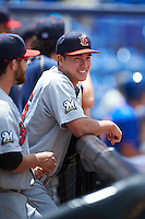 Brevard County Manatees pitcher Kodi Medeiros (16) in the dugout with Bubba Derby (left) during a game against the St. Lucie Mets on April 17, 2016 at Tradition Field in Port St. Lucie, Florida.  Brevard County defeated St. Lucie 13-0.  (Mike Janes/Four Seam Images)