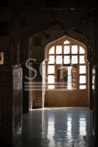 Jaipur, India. Detail of window in the Amber (Amer) Fort.