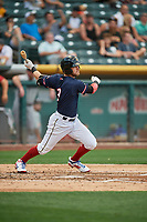 Taylor Ward (3) of the Salt Lake Bees bats against the El Paso Chihuahuas at Smith's Ballpark on July 5, 2018 in Salt Lake City, Utah. El Paso defeated Salt Lake 3-2. (Stephen Smith/Four Seam Images)