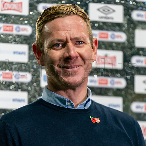 3rd November 2020; The John Smiths Stadium, Huddersfield, Yorkshire, England; English Football League Championship Football, Huddersfield Town versus Bristol City; Dean Holden Manager of Bristol City talks to the press after victory against Huddersfield Town