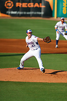 Tennessee Smokies starting pitcher Erich Uelmen (41) delivers a pitch to the plate against the Rocket City Trash Pandas at Smokies Stadium on June 12, 2021, in Kodak, Tennessee. (Danny Parker/Four Seam Images)