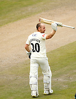29th May 2021; Emirates Old Trafford, Manchester, Lancashire, England; County Championship Cricket, Lancashire versus Yorkshire, Day 3; Josh Bohannon of Lancashire acknowledges the crowd's applause as he reaches his century shortly after lunch today