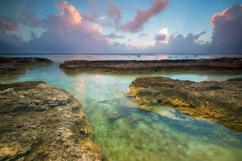 Sunrise shot of the Pacific Ocean side of Bora Bora. French Polynesia