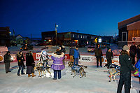 Michael Baker in the finish chute as he arrives in 58th place in Nome during the 2017 Iditarod on Saturday March 18, 2017.<br /> <br /> Photo by Jeff Schultz/SchultzPhoto.com  (C) 2017  ALL RIGHTS RESERVED