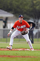 Illinois Fighting Illini first baseman Jordan Parr #17 during a game against the Notre Dame Fighting Irish at the Big Ten/Big East Challenge at Walter Fuller Complex on February 17, 2012 in St. Petersburg, Florida.  (Mike Janes/Four Seam Images)
