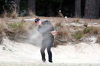 PINEHURST, NC - MARCH 02: Clay Stirsman of Wake Forest University chips out of a sand trap on the fifth hole at Pinehurst No. 2 on March 02, 2021 in Pinehurst, North Carolina.
