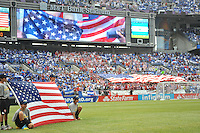 U.S. fans during the presentation.  The USMNT defeated El Salvador 5-1 at the quaterfinal game of the Concacaf Gold Cup, M&T Stadium, Sunday July 21 , 2013.