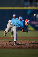 Guerreros de Fayetteville starting pitcher Peyton Plumlee (44) in action against the Rapidos de Kannapolis at Atrium Health Ballpark on June 24, 2021 in Kannapolis, North Carolina. (Brian Westerholt/Four Seam Images)