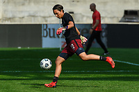 BRIDGEVIEW, IL - JULY 18: Sarah Bouhaddi #12 of the OL Reign warms up before a game between OL Reign and Chicago Red Stars at SeatGeek Stadium on July 18, 2021 in Bridgeview, Illinois.