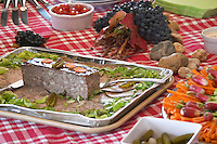 Cold buffet with pate in the garden. Chateau Kirwan, Margaux, Medoc, Bordeaux, France