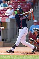 Cedar Rapids Kernels outfielder Adam Walker #38 bats during a game against the Lansing Lugnuts at Veterans Memorial Stadium on April 30, 2013 in Cedar Rapids, Iowa. (Brace Hemmelgarn/Four Seam Images)