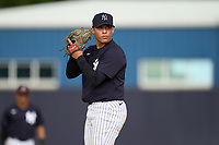 FCL Yankees pitcher Christian Sumoza (28) during a game against the FCL Blue Jays on June 29, 2021 at the Yankees Minor League Complex in Tampa, Florida.  (Mike Janes/Four Seam Images)