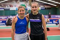 Wateringen, The Netherlands, December 8,  2019, De Rhijenhof , NOJK juniors 14 and18 years, Finals  girls 14 years Isis van den Broek NED) (L) and Annelin Bakker (NED)<br /> <br /> Photo: www.tennisimages.com/Henk Koster