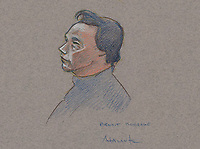 FILE IMAGE - Benoit Roberge at his trial, January 8, 2014 at Montreal justice Hall.<br /> <br /> Former Montreal police investigator Benoit Roberge, who sold information to the Hells Angels, was later sentenced to eight years in prison.<br /> <br /> Drawing : Agence Quebec Presse - Atalante