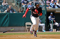 Kennys Vargas (35) of the New Britain Rock Cats runs to first base during a game against the Trenton Thunder at New Britain Stadium on May 7, 2014 in New Britain, Connecticut.  Trenton defeated New Britain 6-4. (Gregory Vasil/Four Seam Images)