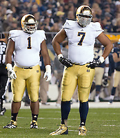 Notre Dame defensive linemen Louis Nix III (1) and Stephon Tuitt (7). Notre Dame defensive lineman Louis Nix III. The Pittsburgh Panthers defeated the Notre Dame Fighting Irish 28-21 at Heinz Field, Pittsburgh, Pennsylvania on November 9, 2013.