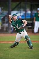Dartmouth Big Green catcher Kyle Holbrook (9) throws to first base during a game against the Southern Maine Huskies on March 23, 2017 at Lake Myrtle Park in Auburndale, Florida.  Dartmouth defeated Southern Maine 9-1.  (Mike Janes/Four Seam Images)