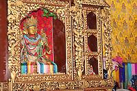 Bodhnath, Nepal.  A Small Shrine inside the Tsamchen Gompa (Buddhist Monastery).